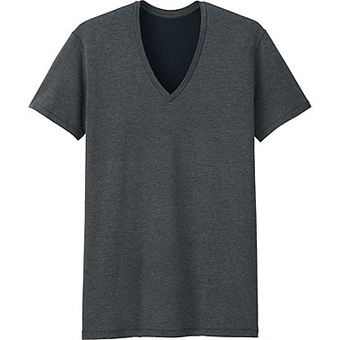 MEN HEATTECH EXTRA WARM T-SHIRT (SHORT SLEEVE), DARK GRAY, medium