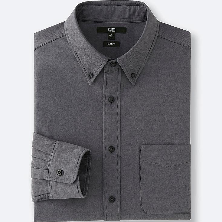 Men oxford slim fit long sleeve shirt uniqlo us for Men oxford slim fit long sleeve shirt