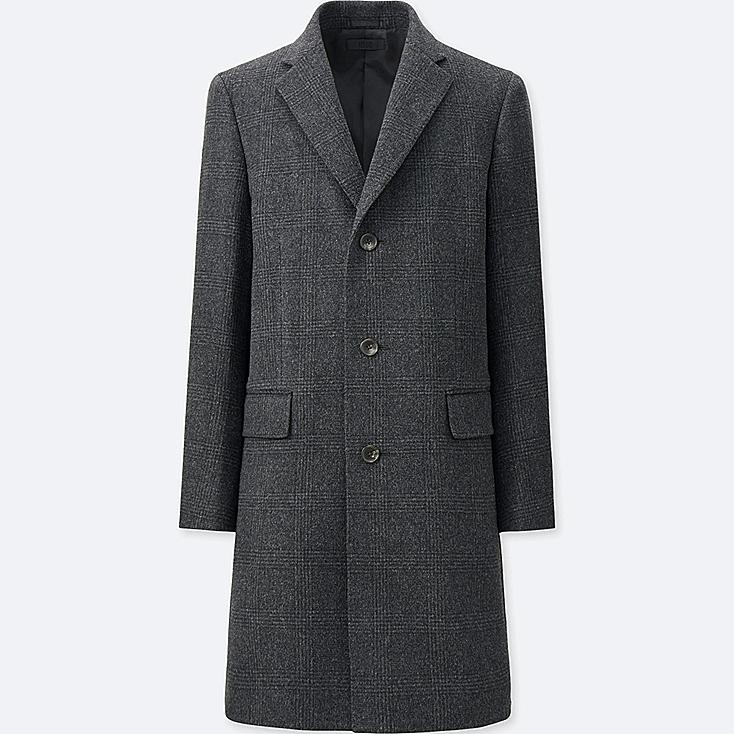 MEN WOOL CASHMERE CHESTERFIELD COAT, DARK GRAY, large