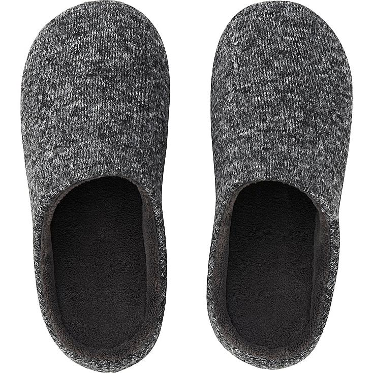FLEECE ROOM SHOES, DARK GRAY, large