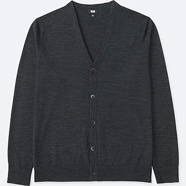 MEN EXTRA FINE MERINO V-NECK CARDIGAN, DARK GRAY, medium