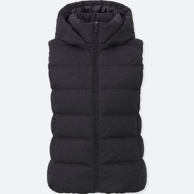 WOMEN STRETCH DOWN VEST, DARK GRAY, medium