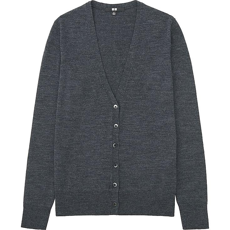 Women Extra Fine Merino Wool V-Neck Cardigan, DARK GRAY, large