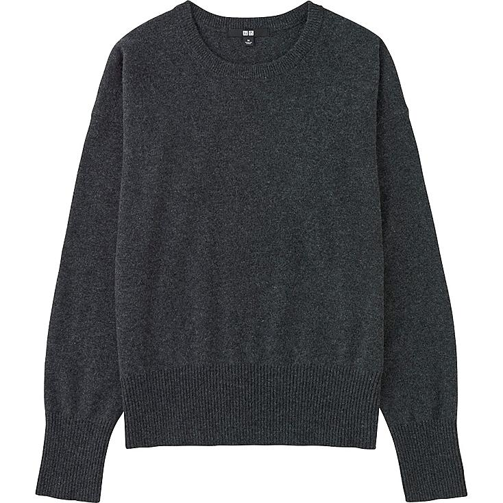 Women Cashmere Crew Neck Sweater, DARK GRAY, large