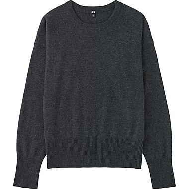 Women Cashmere Crew Neck Sweater, DARK GRAY, medium