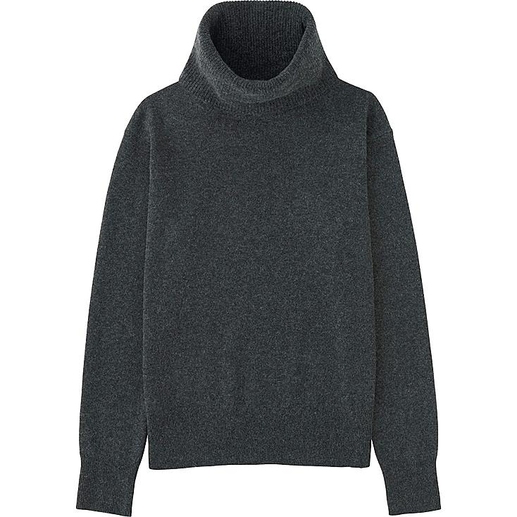 Women Cashmere Turtleneck Sweater, DARK GRAY, large