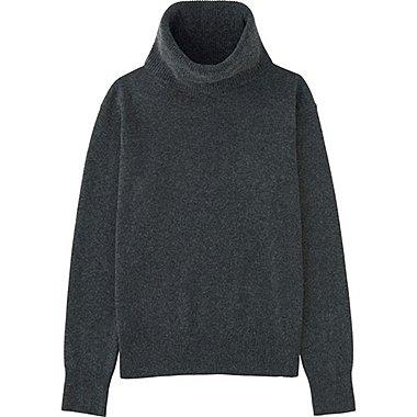 Womens Cashmere Turtleneck Sweater, DARK GRAY, medium