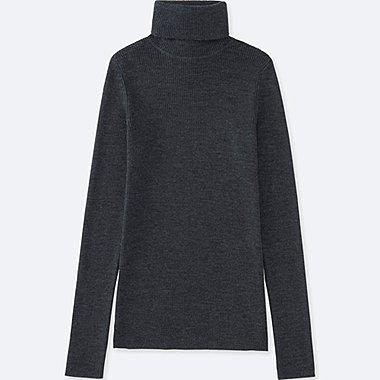 DAMEN Pullover gerippt Rollkragen aus 100 % Merino
