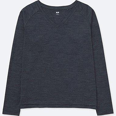 WOMEN Wool Blend V Neck Long Sleeve T