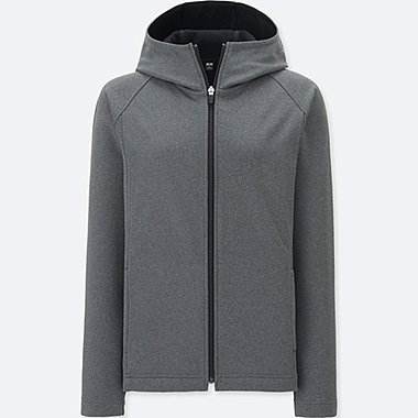 WOMEN BLOCKTECH FLEECE LONG SLEEVE FULL-ZIP HOODIE, DARK GRAY, medium