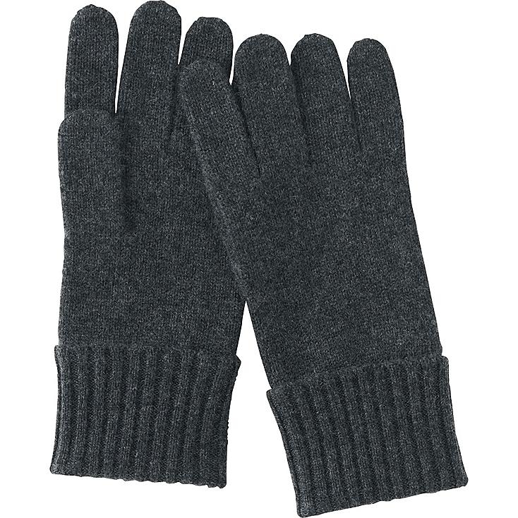 WOMEN CASHMERE GLOVES, DARK GRAY, large