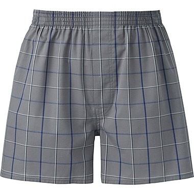 MEN WOVEN CHECKED TRUNKS, DARK GRAY, medium