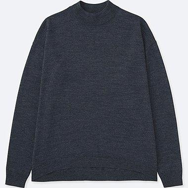 Womens Extra Fine Merino Wool High Neck Sweater, DARK GRAY, medium