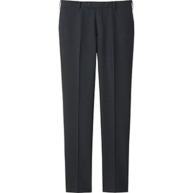 MEN Stretch Wool Slim Fit Flat Front Pants