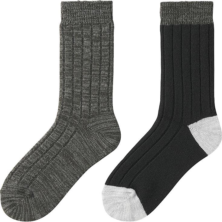 WOMEN HEATTECH SOCKS 2P (RIB), DARK GRAY, large