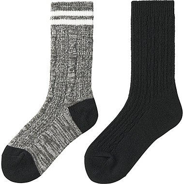 WOMEN HEATTECH SOCKS 2P (CABLE), DARK GRAY, medium