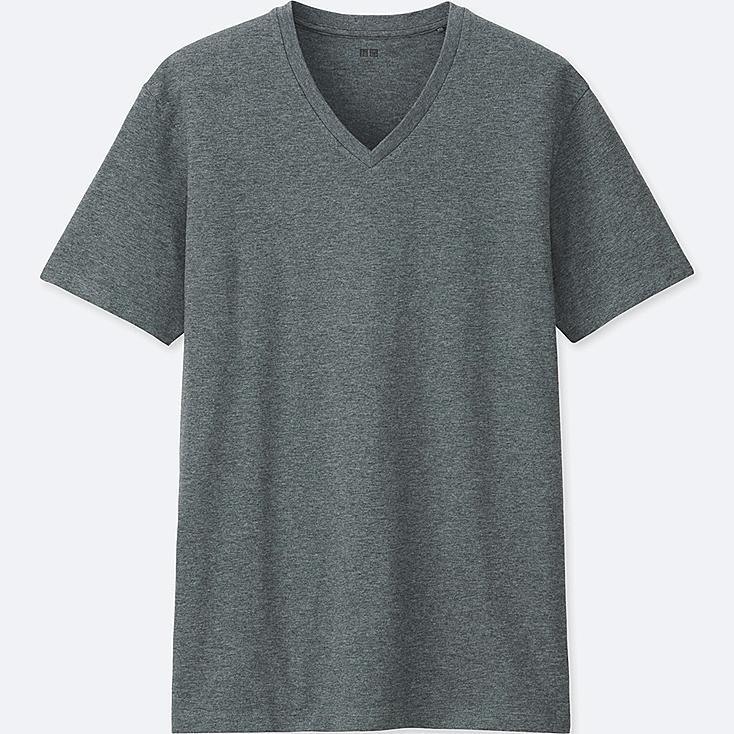 MEN Supima® COTTON V-NECK SHORT SLEEVE T-Shirt, DARK GRAY, large