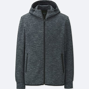 MEN DRY STRETCH SWEAT FULL-ZIP HOODIE, DARK GRAY, medium