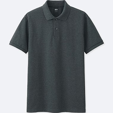 MEN DRY PIQUE SHORT SLEEVE POLO SHIRT, DARK GRAY, medium
