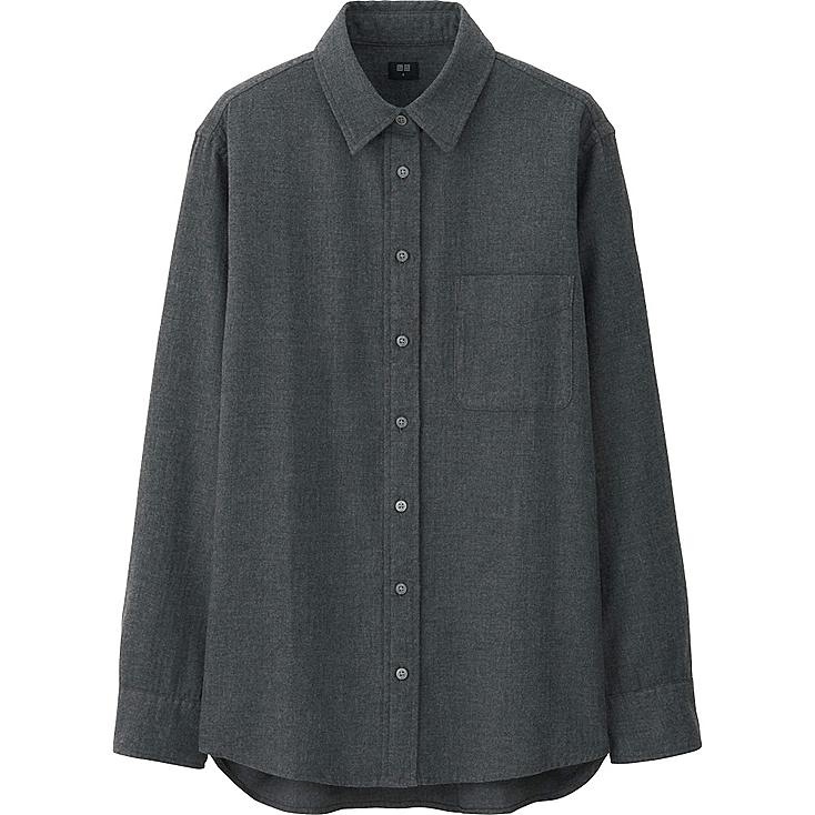 WOMEN FLANNEL LONG SLEEVE SHIRT, DARK GRAY, large