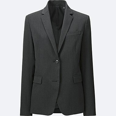 WOMEN STRETCH TAILORED JACKET (ONLINE EXCLUSIVE), DARK GRAY, medium