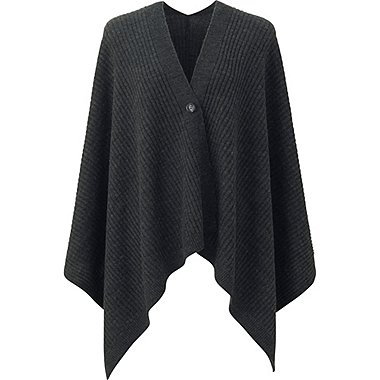 WOMEN 2-WAY KNIT STOLE, DARK GRAY, medium