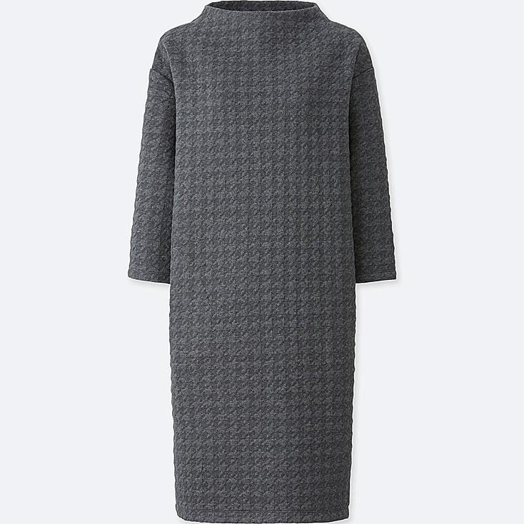 WOMEN JACQUARD 3/4 SLEEVE DRESS, DARK GRAY, large