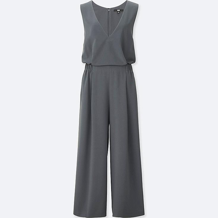 WOMEN V-NECK JUMPSUIT, DARK GRAY, large