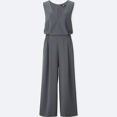 WOMEN V-NECK JUMPSUIT, DARK GRAY, medium