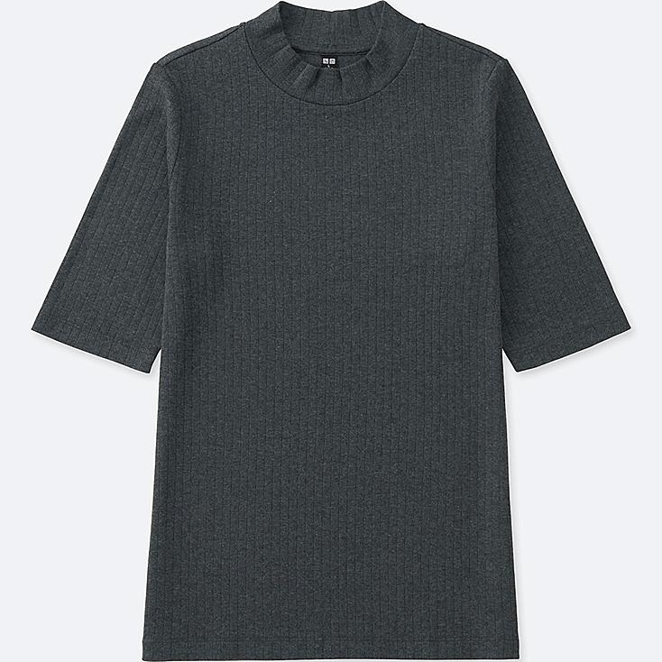 Women ribbed high neck half sleeve t shirt uniqlo us for High neck tee shirts