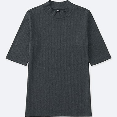 WOMEN RIBBED HIGH NECK HALF SLEEVE T-SHIRT, DARK GRAY, medium