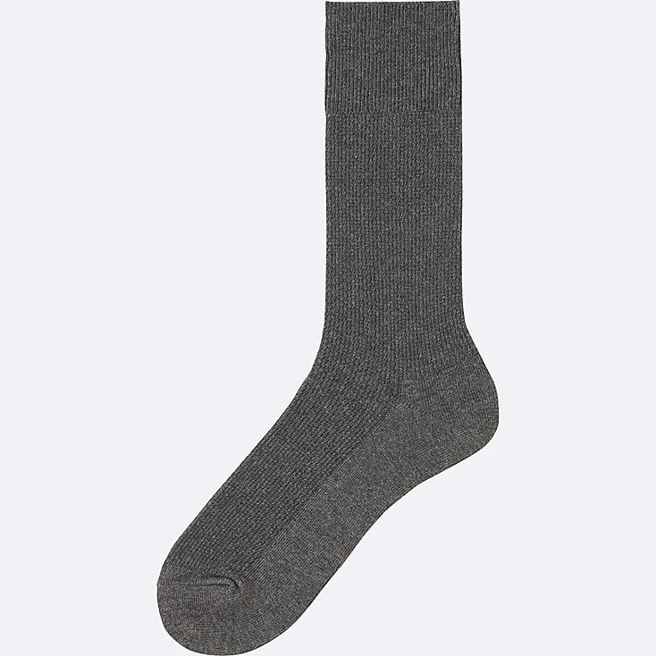 MEN Supima® COTTON PIQUE SOCKS, DARK GRAY, large