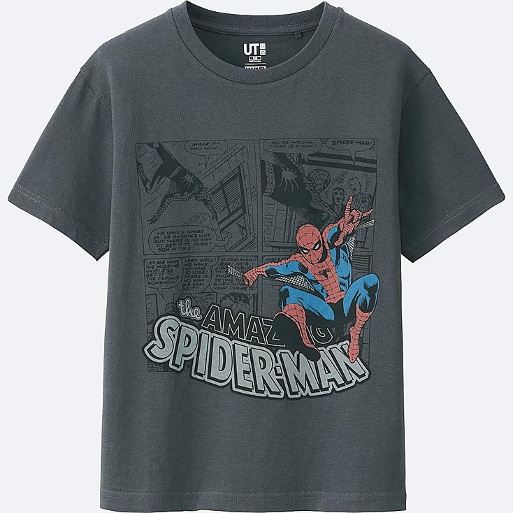 KIDS MARVEL COLLECTION SHORT SLEEVE GRAPHIC T-Shirt, DARK GRAY, large