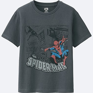 BOYS MARVEL COLLECTION SHORT SLEEVE GRAPHIC TEES, DARK GRAY, medium