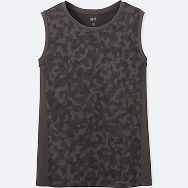 WOMEN DRY-EX PRINTED TANK TOP, DARK GRAY, medium