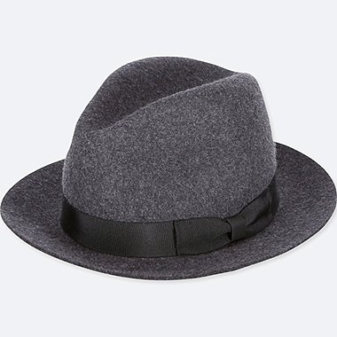 MEN WOOL HAT, DARK GRAY, medium