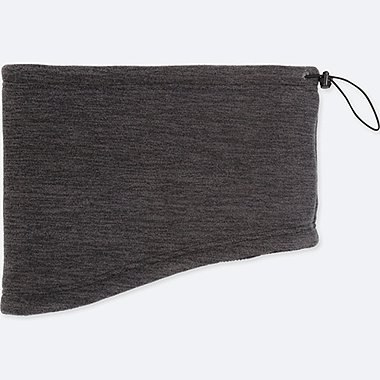 MEN HEATTECH FLEECE NECK WARMER, DARK GRAY, medium