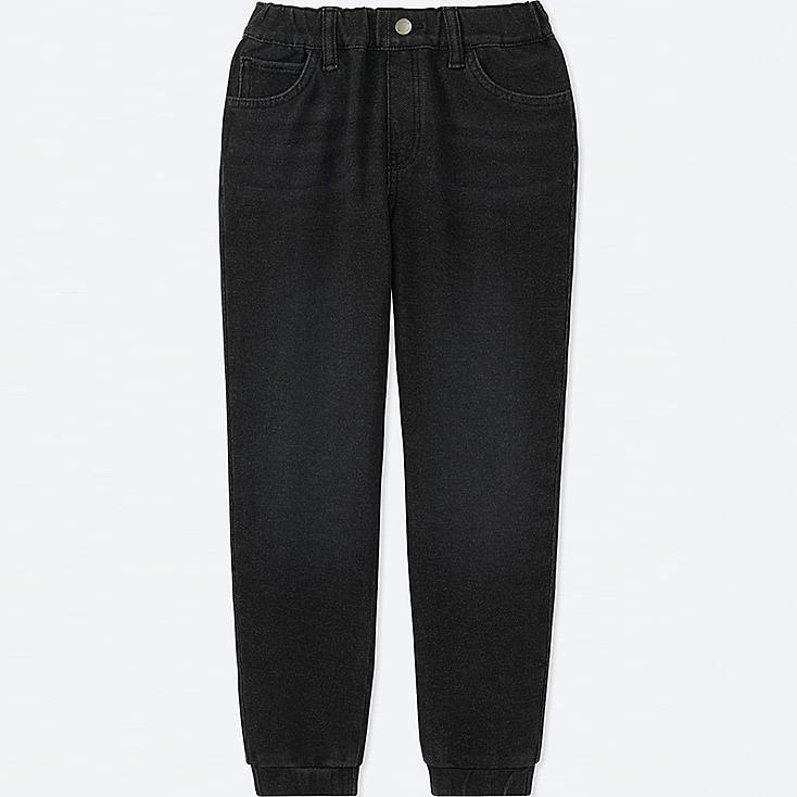 BOYS DENIM JERSEY JOGGER PANTS, DARK GRAY, large