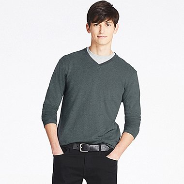 MEN SOFT TOUCH V NECK LONG SLEEVE T-SHIRT