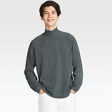 MEN HEATTECH FLEECE MOCK NECK LONG SLEEVE T-SHIRT
