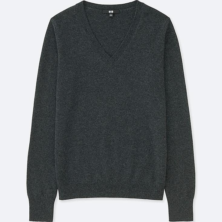 WOMEN CASHMERE V-NECK SWEATER, DARK GRAY, large