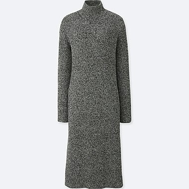 WOMEN LAMBSWOOL BLEND LONG SLEEVE DRESS