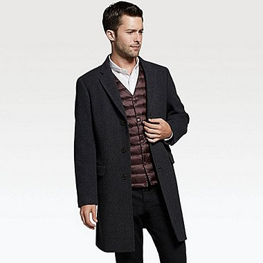 MEN WOOL CASHMERE CHESTERFIELD COAT, DARK GRAY, medium