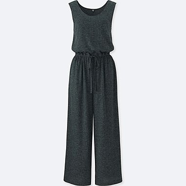 WOMEN SLEEVELESS JUMPSUIT, DARK GRAY, medium