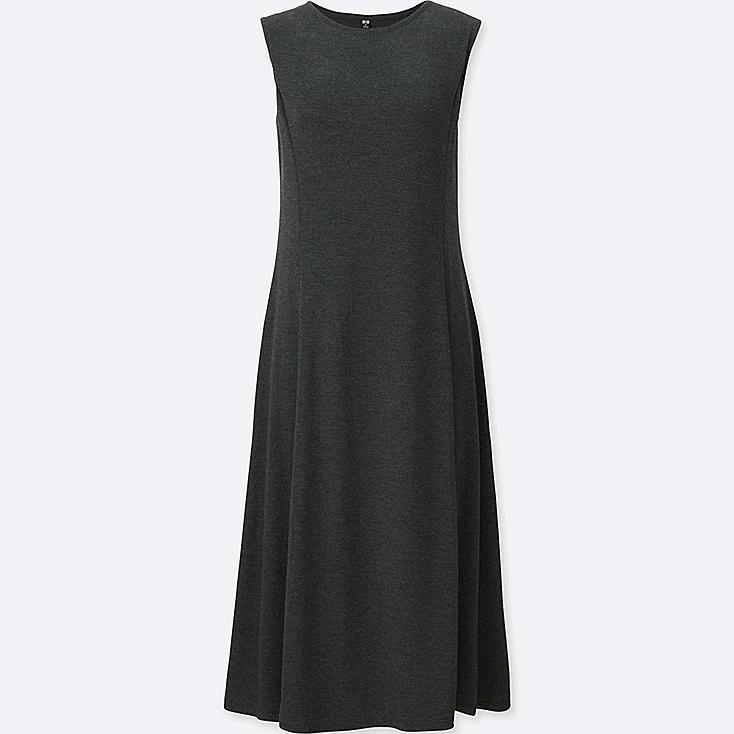 WOMEN LIGHTWEIGHT PONTE SLEEVELESS DRESS, DARK GRAY, large