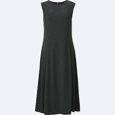 WOMEN LIGHTWEIGHT PONTE SLEEVELESS DRESS, DARK GRAY, medium