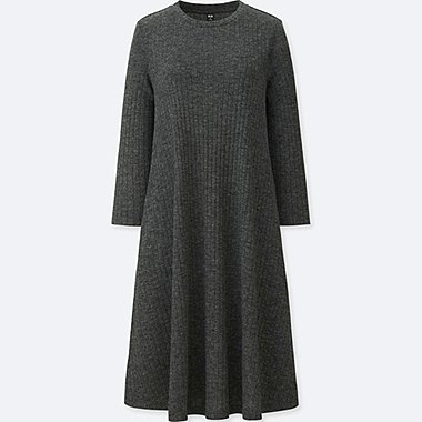 WOMEN RIBBED A LINE 3/4 SLEEVE DRESS