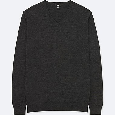 MEN EXTRA FINE MERINO V-NECK LONG-SLEEVE SWEATER, DARK GRAY, medium