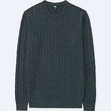 MEN COTTON CASHMERE CABLE CREW NECK SWEATER, DARK GRAY, medium