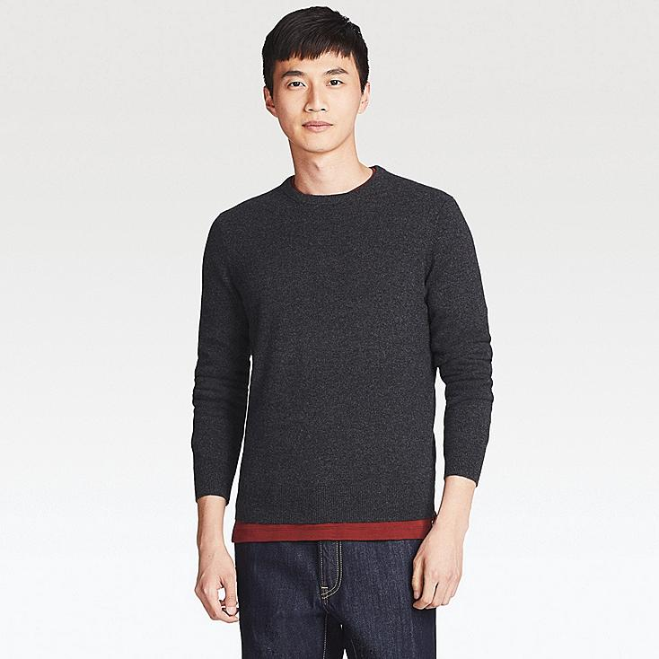 MEN CASHMERE CREW NECK SWEATER, DARK GRAY, large